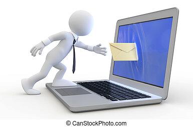 Man sending a message through the screen of a laptop