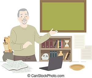 Man Senior History Teacher Illustration