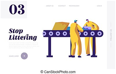Man Separating Litter and Garbage on Conveyor Landing Page. Worker Utilize Rubbish to Reduce Environmental Littering. Trash Recycling Industry. Website or Web Page. Flat Cartoon Vector Illustration