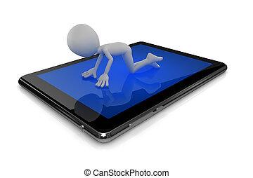 Man serching information on tablet