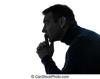 man serious thinking pensive silhouette portrait - one...