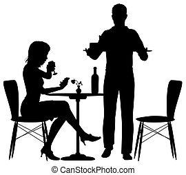Man serving meal - Editable vector illustration of a woman...