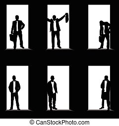 man set silhouette front of the door illustration