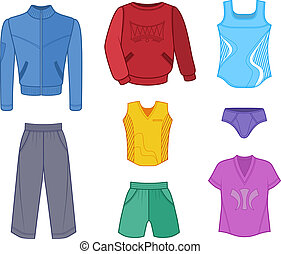 Man set tricot clothes colored