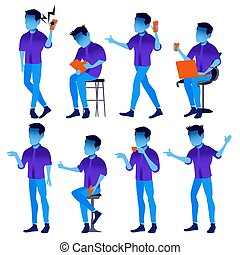 Man Set Vector. Modern Gradient Colors. People In Action. Business Character. Creative Human. Isolated Flat Illustration