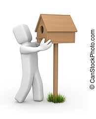 Man sets birdhouse - White 3D character made birdhouse from ...