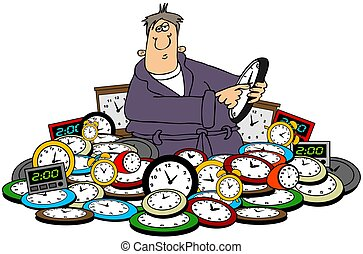 Man setting time on clocks - This illustration depicts a man...
