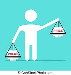 man-shaped, 平衡, 價值, 價格