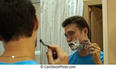 Man shaving with foam