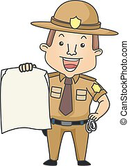 Man Sheriff Board Illustration