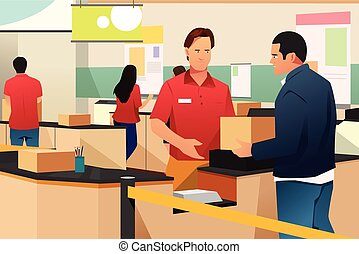 Man Shipping a Box in Store Illustration