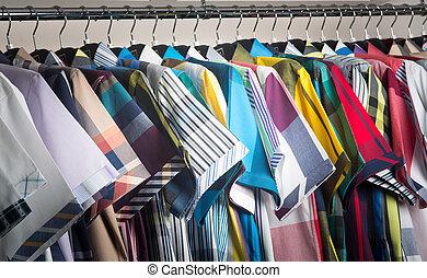 shirts. man shirts on hangers - man shirts. man shirts on...