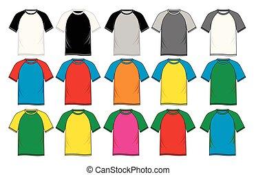 man shirts v neck templates, raglan sleeve, vector image