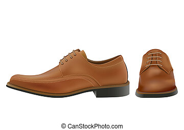 Pair of photo-real brown man oxford shoes in editable vector