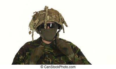 Man shoot helmet from head. White backgraund - Man shoot...