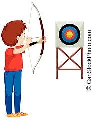 Man shooting arrow at the target