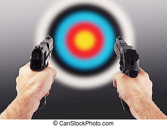 Man shooting with two guns