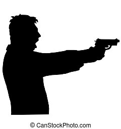man shoots a gun isolated on white background - A man shoots...