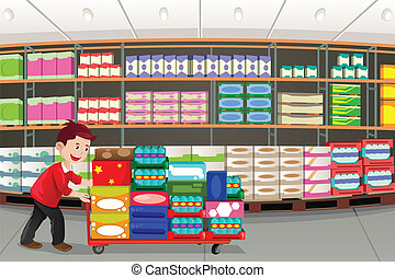 Man shopping - A vector illustration of man shopping in a ...
