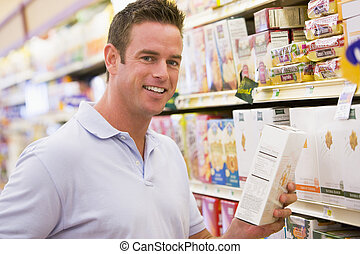 Man shopping at grocery store