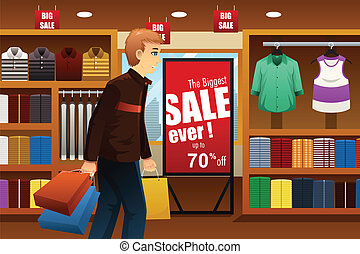Man shopping at shopping mall - A vector illustration of man...