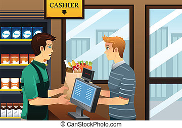 Man shopping at the grocery - A vector illustration of young...