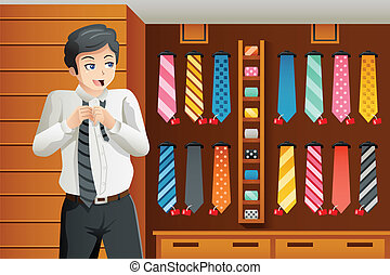 Man shopping for a tie - A vector illustration of Man...