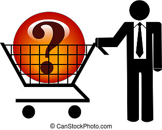 man shopping for answers - business man with shopping cart...