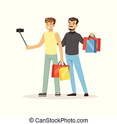 Man shopping in a mall and making selfie colorful vector illustration