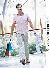 Man shopping in mall