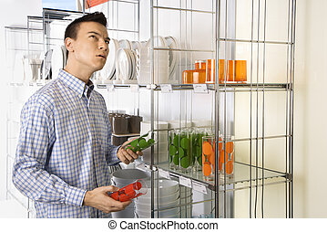 Man shopping in store.