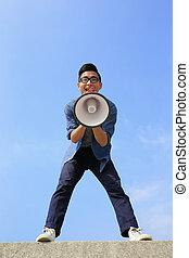 man shout megaphone