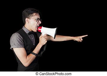 Man Shouting in Megaphone