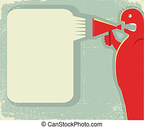 man shouting through loudspeaker. Vector posterfor text on ...