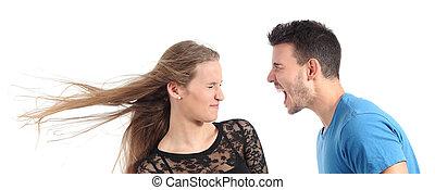 Man shouting to a woman