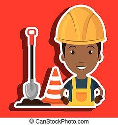 man shovel warning construction