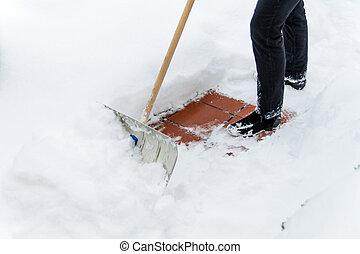 man shoveling snow at