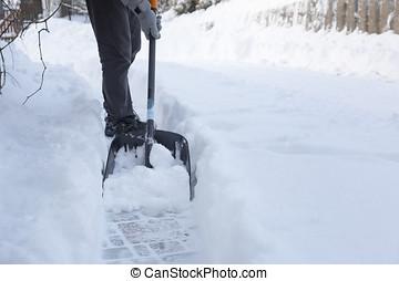 man shoveling snow away from walkway