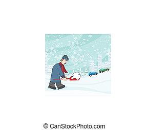 Man shoveling snow from street in winter