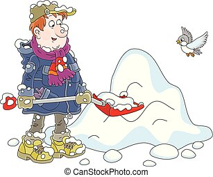 Man shoveling snow - Funny yardman cleaning snow with a...