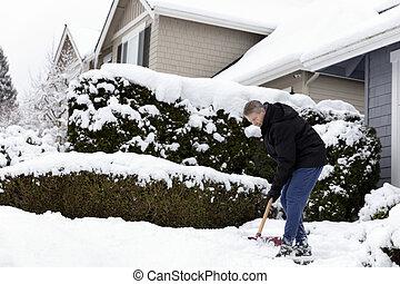Man shoveling snow off sidewalk in front of home