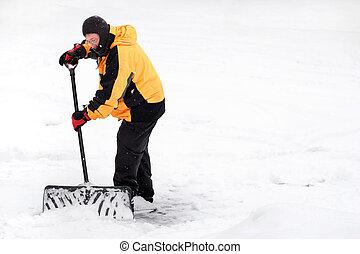 Man shoveling snow - Winter scene with a man shoveling snow