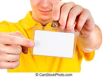 Man show a Badge