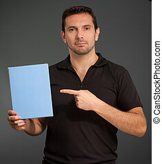 Man showing a box