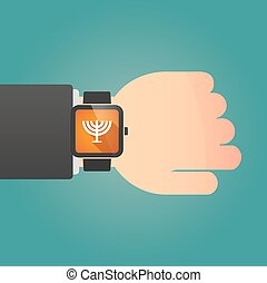 Man showing a smart watch with a chandelier