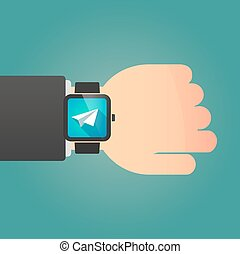 Man showing a smart watch with a paper plane