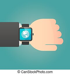 Man showing a smart watch with an America region world globe