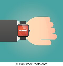 Man showing a smart watch with an electronic cigarette
