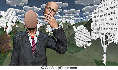 Man showing blank in landscape with text paper trees