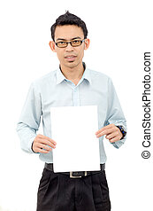 Man showing blank signboard, isolated over white background